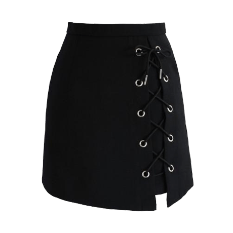 LEFT SIDE LACE UP BLACK SKIRT