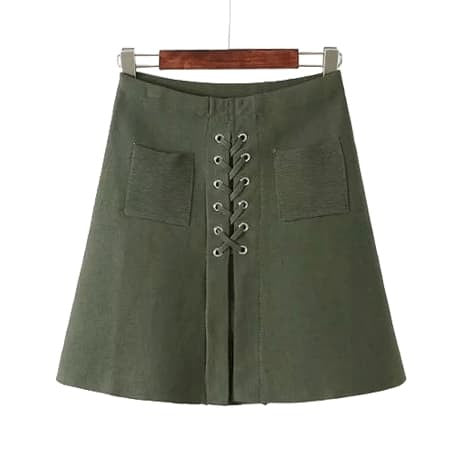 ARMY GREEN LACEUP SKIRT