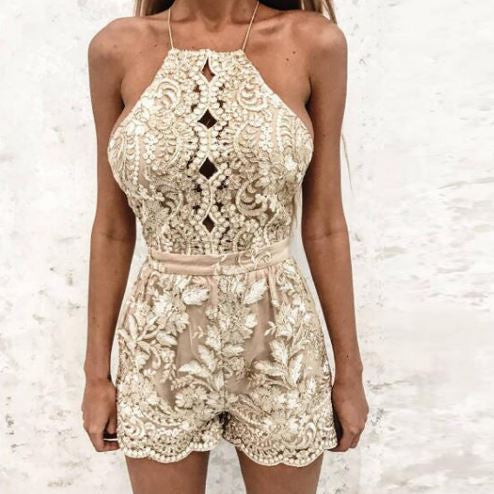 GOLD LACE COVERALL BODY SHORTS
