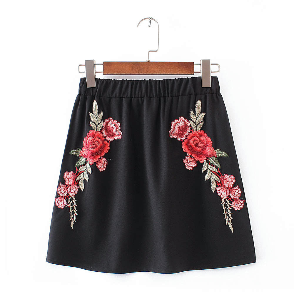 TOP MINI SKIRT SET EMBROIDERY ROSE