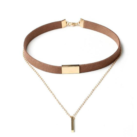CHOKER NECKLACE BLACK BROWN FASHION
