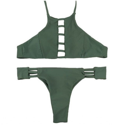ARMY GREEN STRAPPY TRIANGLE BIKINI