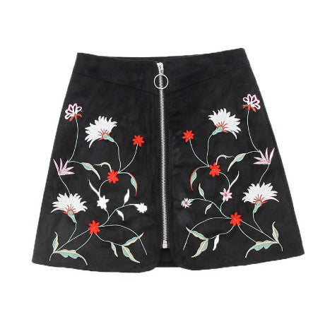 BLACK MINI SKIRT SUEDE LIGHTNING EMBROIDERY FLOWERS