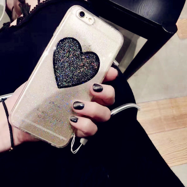 BLACK GLITTER HEART PHONE CASE