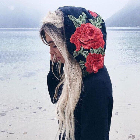 BLACK HOODY EMBROIDERY ROSE FLOWER SWEATSHIRT