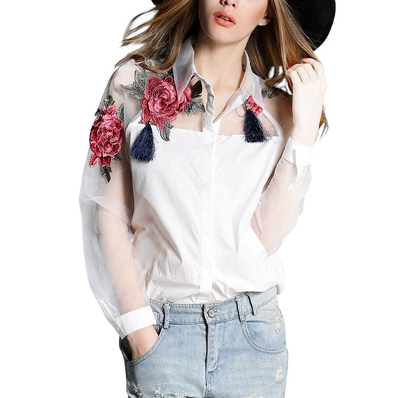 BLOUSE CHIFFON ELEGANT FLOWER EMBROIDERY