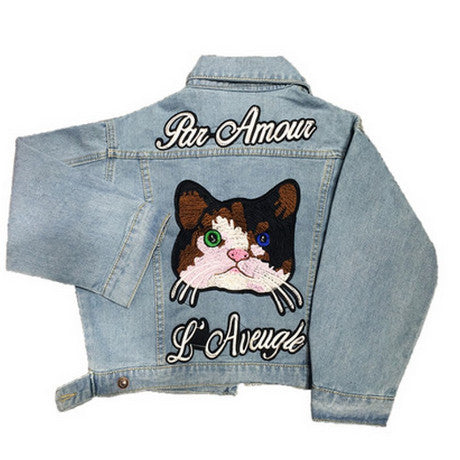 CATS EMBROIDERY JEANS JACKET