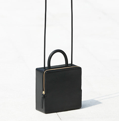 CUBE SQUARE LEATHER SHOULDER CLASSIC GEOMETRIC BAG