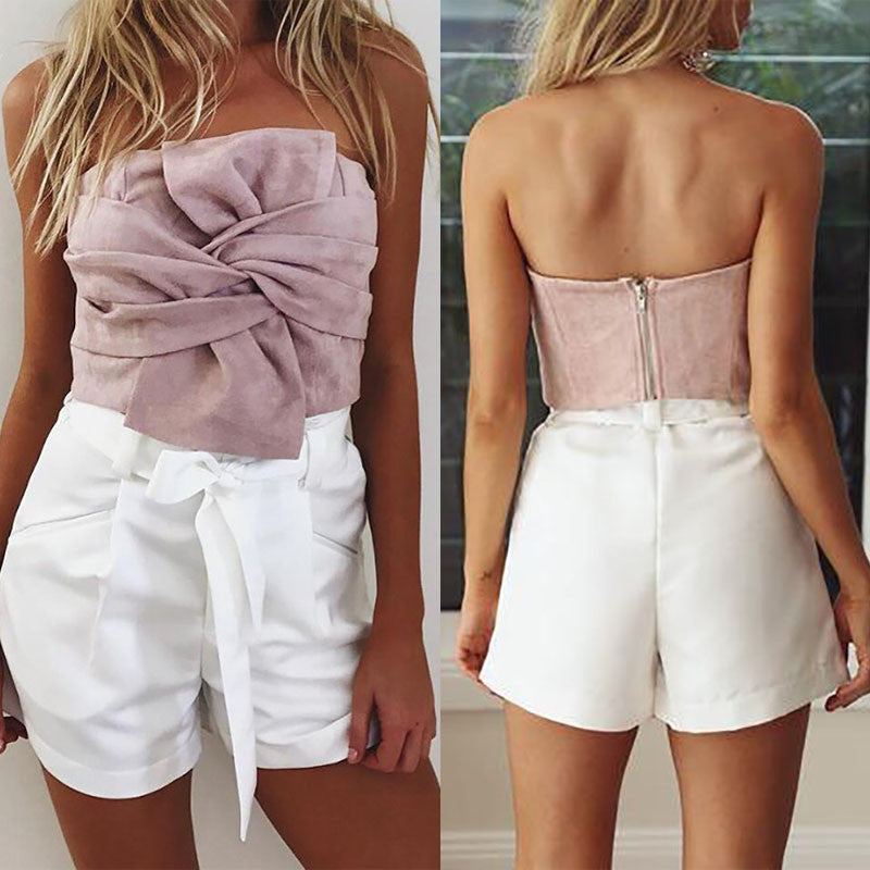 ELEGANT TOP STRAPLESS SUEDE BOW