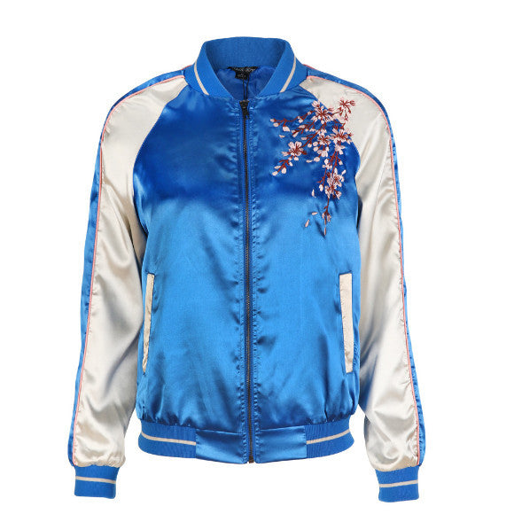 FLOWERS EMBROIDERY BOMBER SILK JACKET
