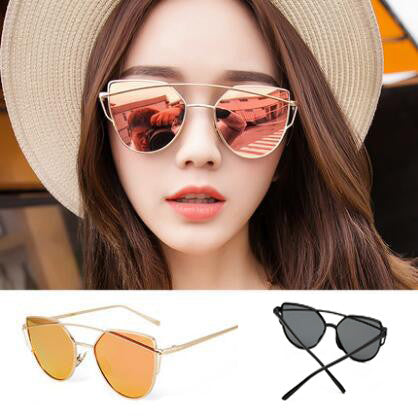 GEOMTRIC MIRROR BLACK FRAME SUNGLASSES
