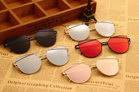 GEOMTRIC MIRROR GOLD SUNGLASSES