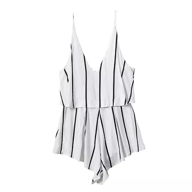 HALTER STRAP STRIPED JUMPSUIT