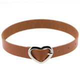 LEATHER HEART BUCKLE BELT CHOKER