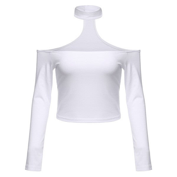 LONG SLEEVE OPEN SHOULDERS CHOKER TOP