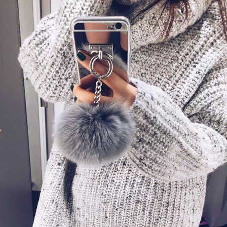 METAL MIRROR RABBIT FUR POMPON IPHONE CASE