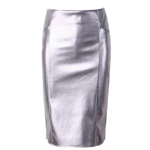 MIDI PENCIL SKIRT LEATHER PU