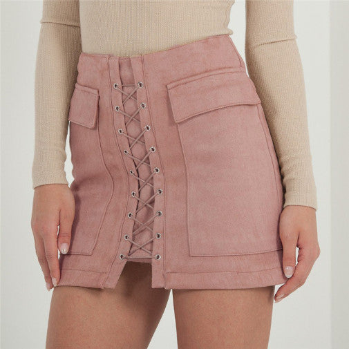 MINI SKIRT PENCIL LACE UP SUEDE HIGH WAIST