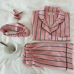 PAJAMAS STRIP COLLAR SHIRT PANTS