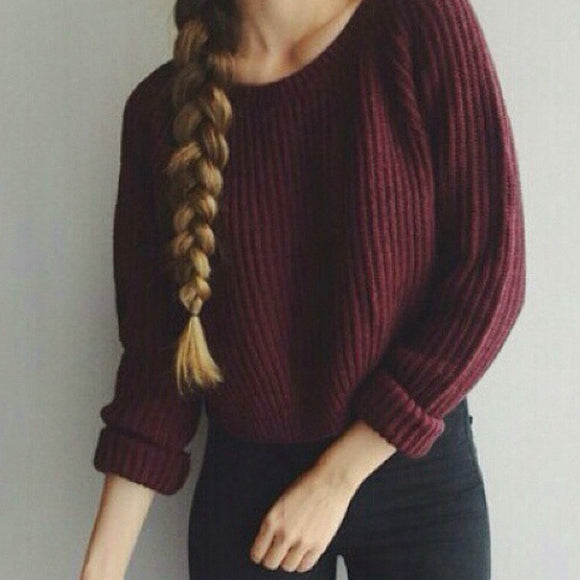 PULLOVER KNITTED TOP RED WINE AUTUMN