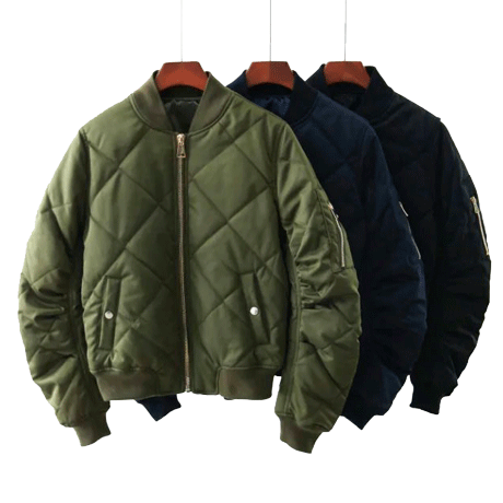 QUILTED WARM ARMY GREEN BLACK COLOR SATIN BOMBER