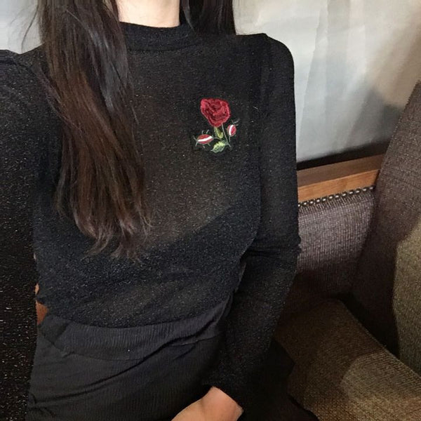ROSE EMBROIDERY SHINY TRANSPARENT LONG SLEEVE BLOUSE