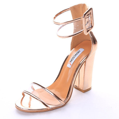 SANDALS BELT BUCKLE HIGH HEEL LEATHER PYTHON