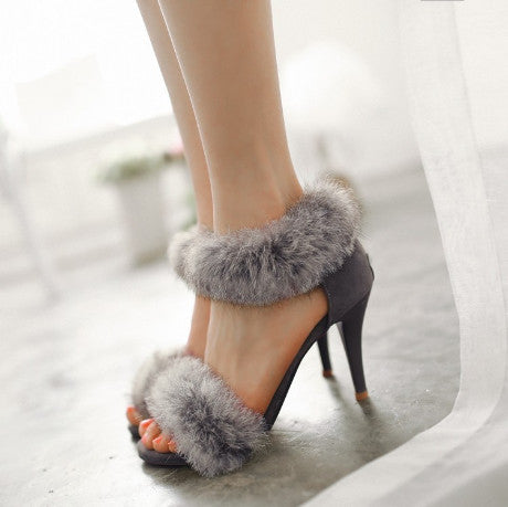 SANDALS FUR RABBIT HIGH HEEL