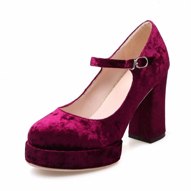 SHOES PUMPS PLATFORM VELVET