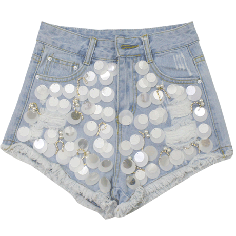 SHORTS JEANS BEADS SEQUINS