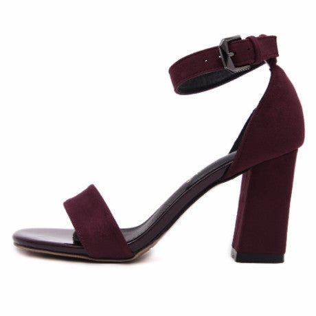 SUEDE SANDALS BELT BUCKLE TALL HEEL