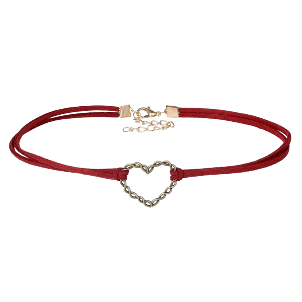SUEDE THIN LACE HEART CHOKER
