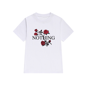 T-SHIRT ROSES NOTHING WHITE GRAY PINK