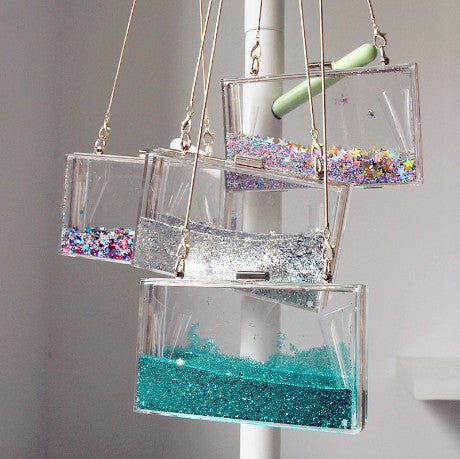 TRANSPARENT BAG WITH CRYSTALS ACRYLIC