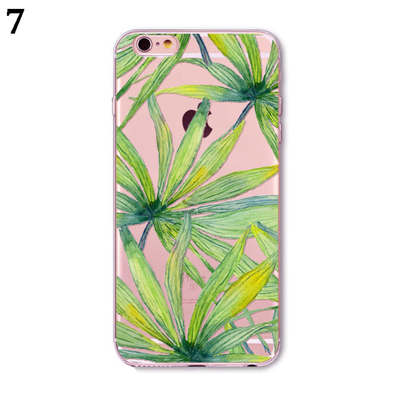 TRANSPARENT SILICONE LEAF PATTERNS IPHONE 7 CASE