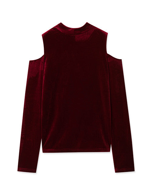 VELVET OPEN CUT HOLES SHOULDERS LONG SLEEVE SHIRT