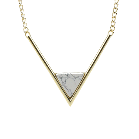V NECK GOLDEN MARBLE TRIANGLE NECKLACE