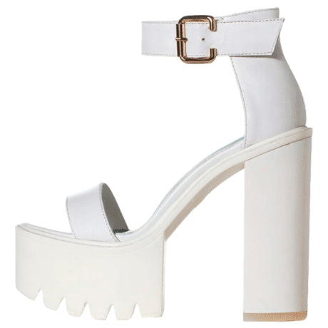 HIGH PLATFORM WHITE ANKLE SANDALS