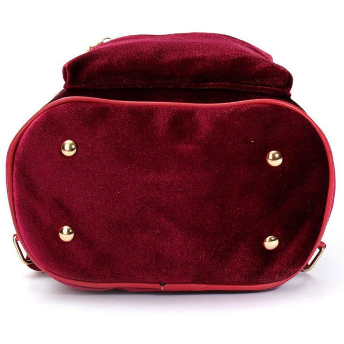 RED VELVET ZIPPER BACKPACK