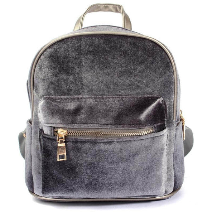 GRAY VELVET ZIPPER BACKPACK