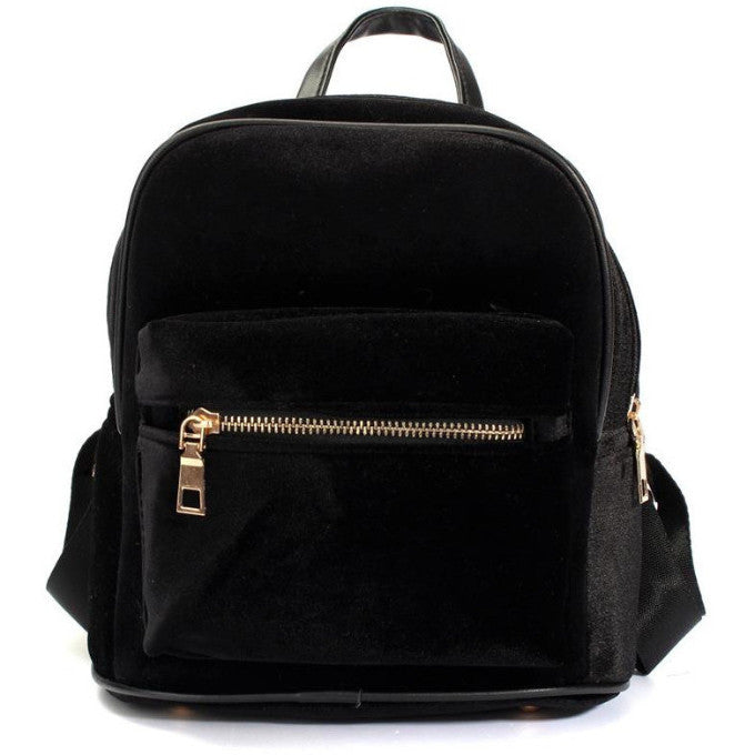 BLACK VELVET ZIPPER BACKPACK