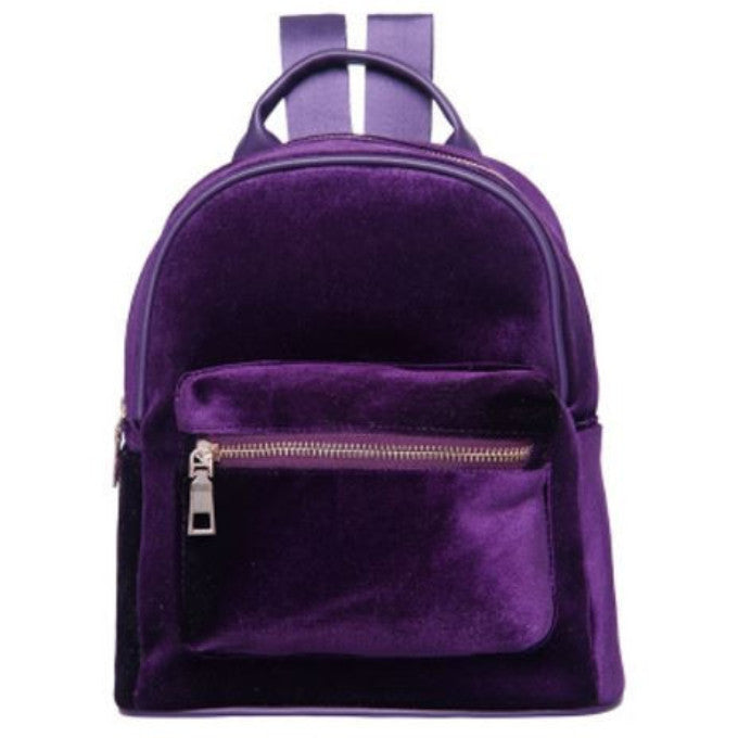 PURPLE VELVET ZIPPER BACKPACK