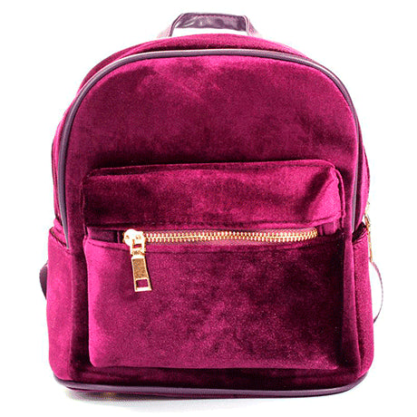PINK VELVET ZIPPER BACKPACK