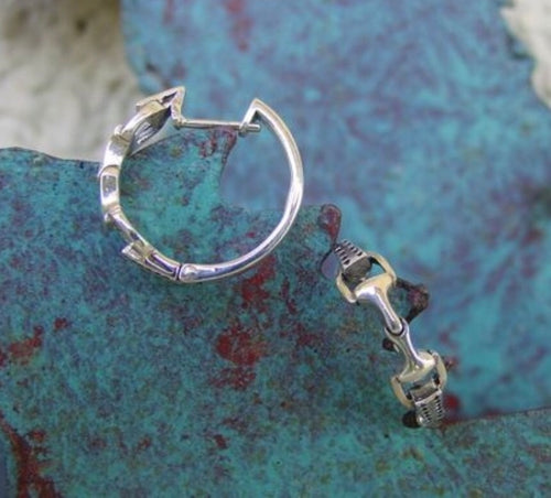 Snaffle Bit Hoop Earrings Sterling Silver