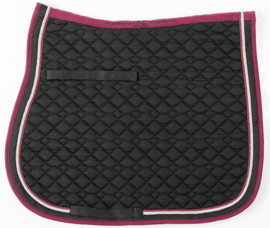USG Saddle Pad Black Maroon Silver