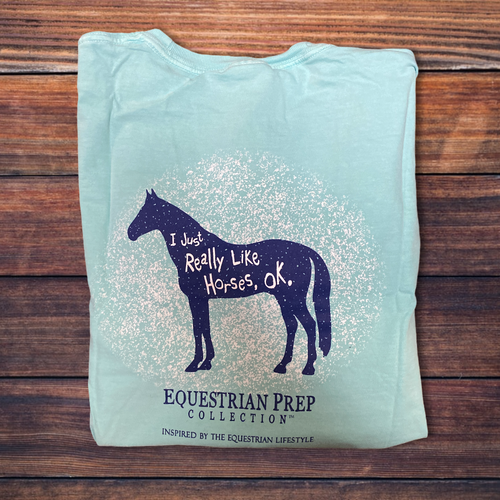 Kids Equestrian Prep I Just Really Like Horses Short Sleeve Teee