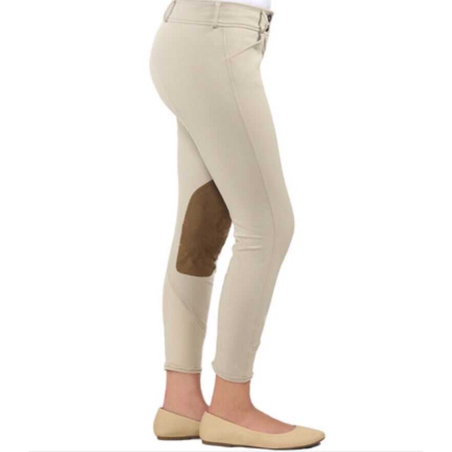 "RJ Classics ""Harrisburg"" Girls Front Zip Breeches in Sand"