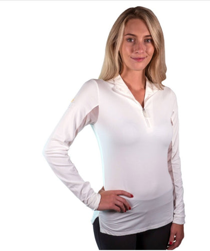 Kastel White/ White Trim Icefil Quarter ZIP Shirt