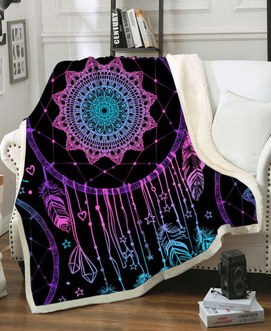 Dreamcatcher Purple Fleece Blanket