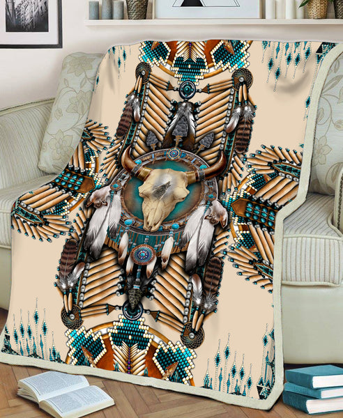 Buffalo Head Motifs Fleece Blanket